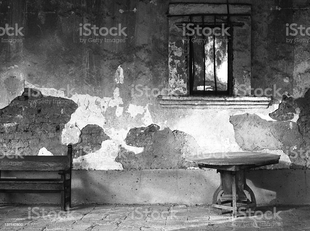 Wooden Bench and Table, Old Mission stock photo