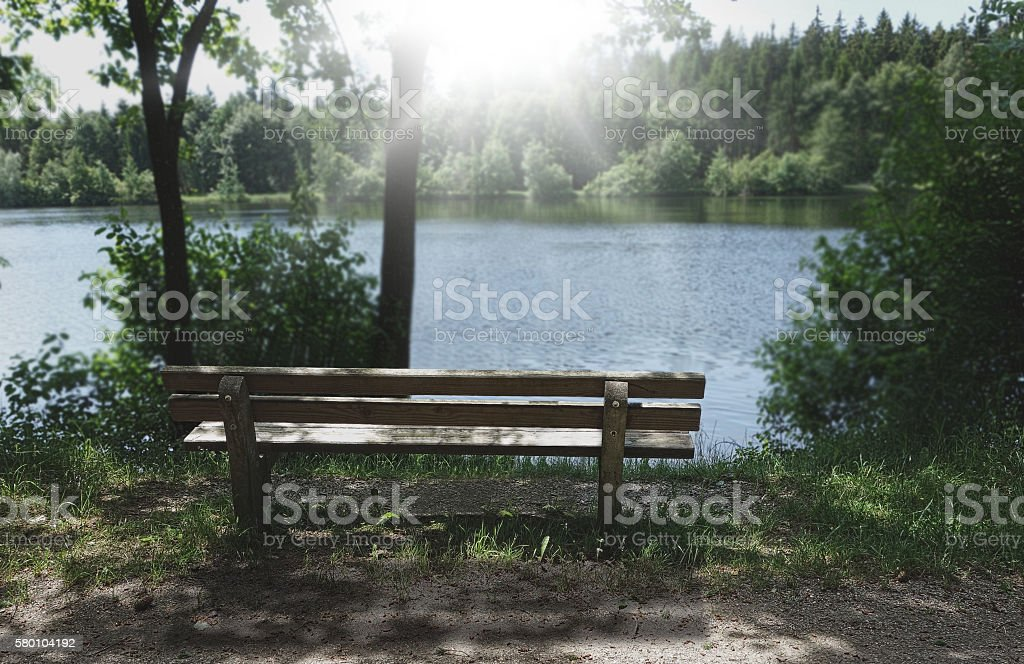 wooden bench at sea modified photo stock photo