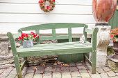 wooden bench in street