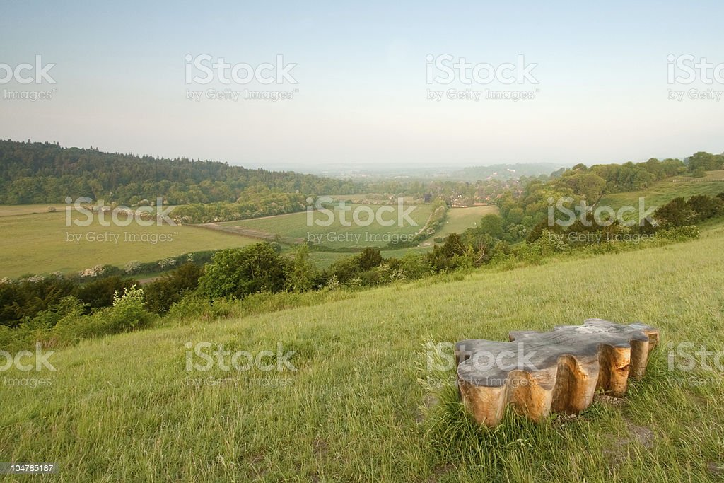 Wooden Bench in the North Downs stock photo