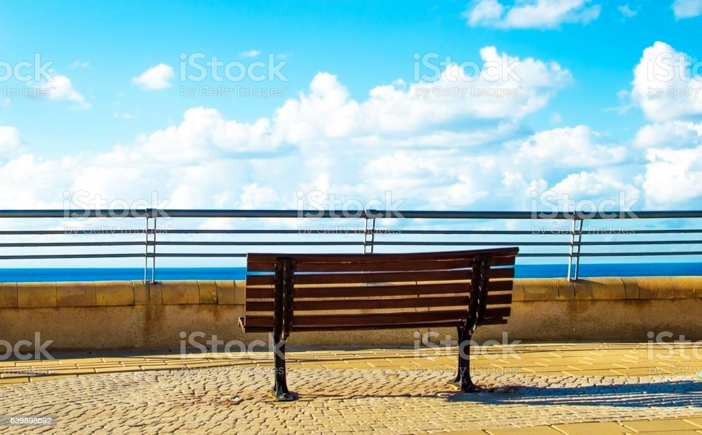 Wooden bench in the park on a background of sea stock photo