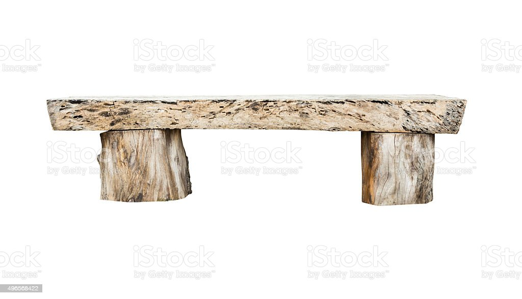 wooden bench isolated on white background stock photo