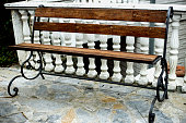 Wooden bench on teracce