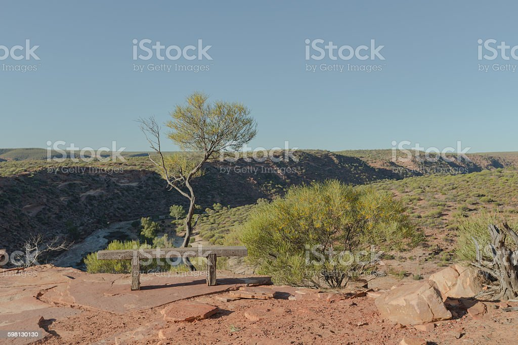 Wooden Bench on the Edge of Murchison River Gorge stock photo