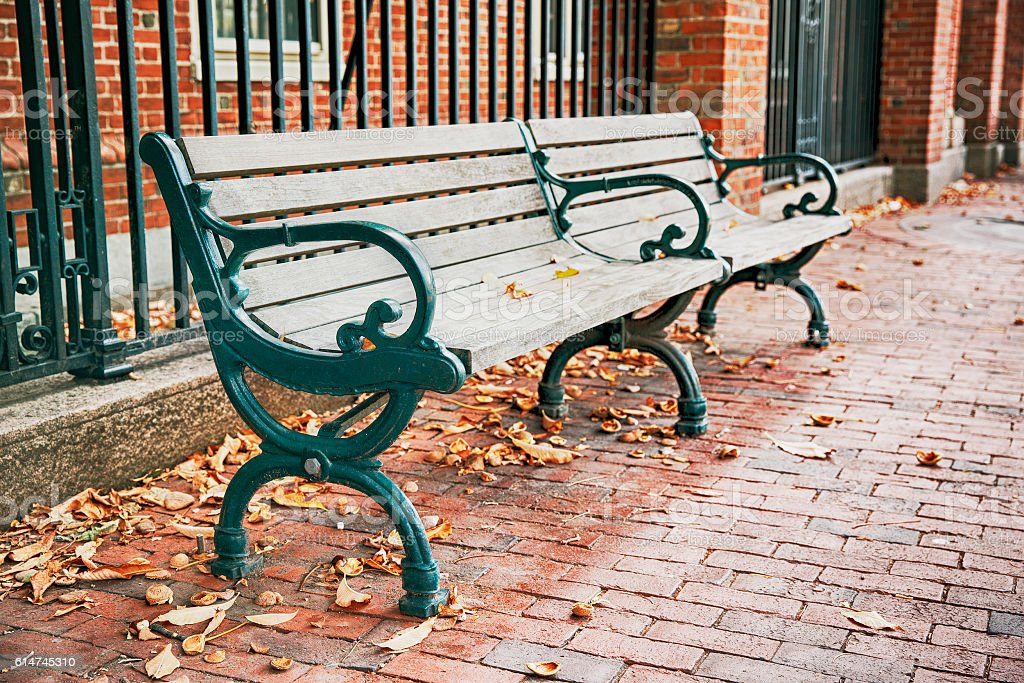 wooden bench on the street in autumn stock photo