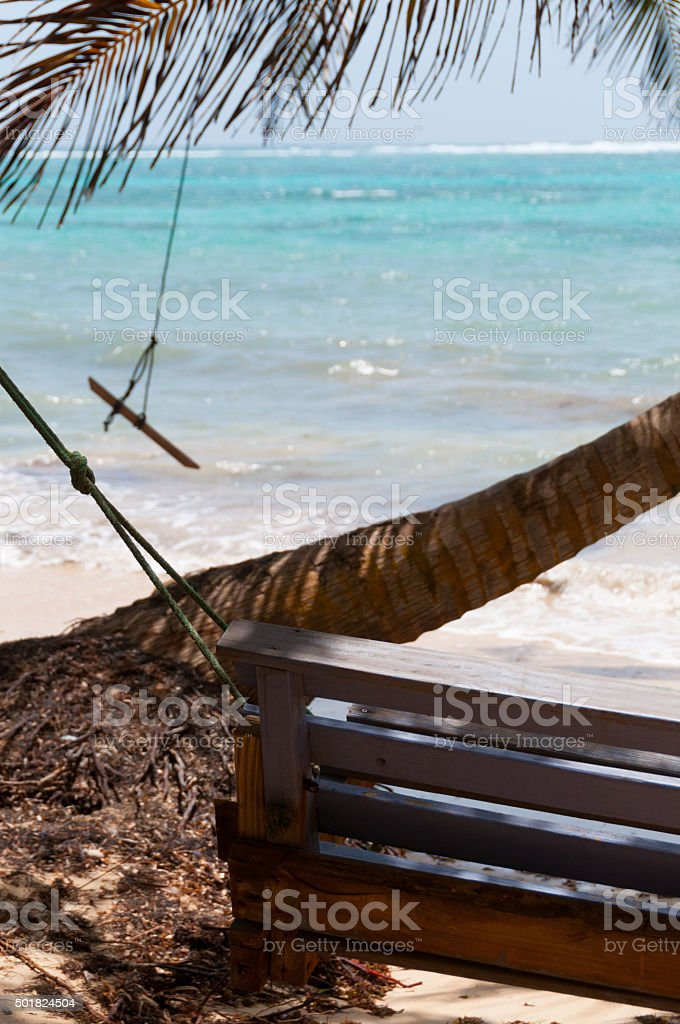 Wooden Bench Swing next to a palm tree in front stock photo