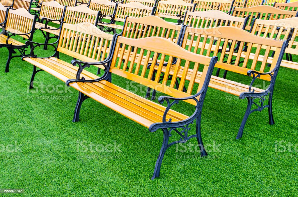 Wooden bench vintage stock photo