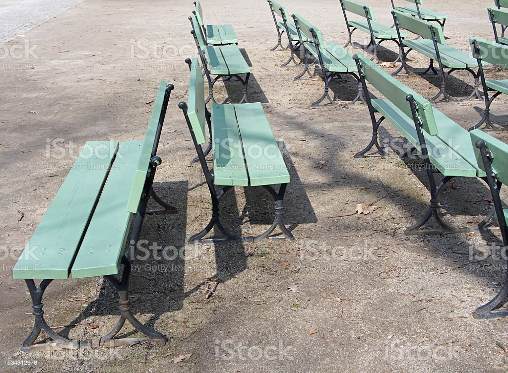 Wooden Benches, a different point of view, individualism stock photo