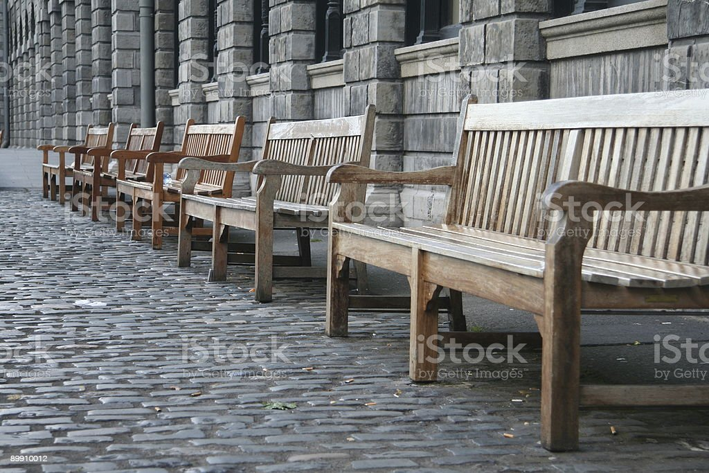 wooden benches stock photo