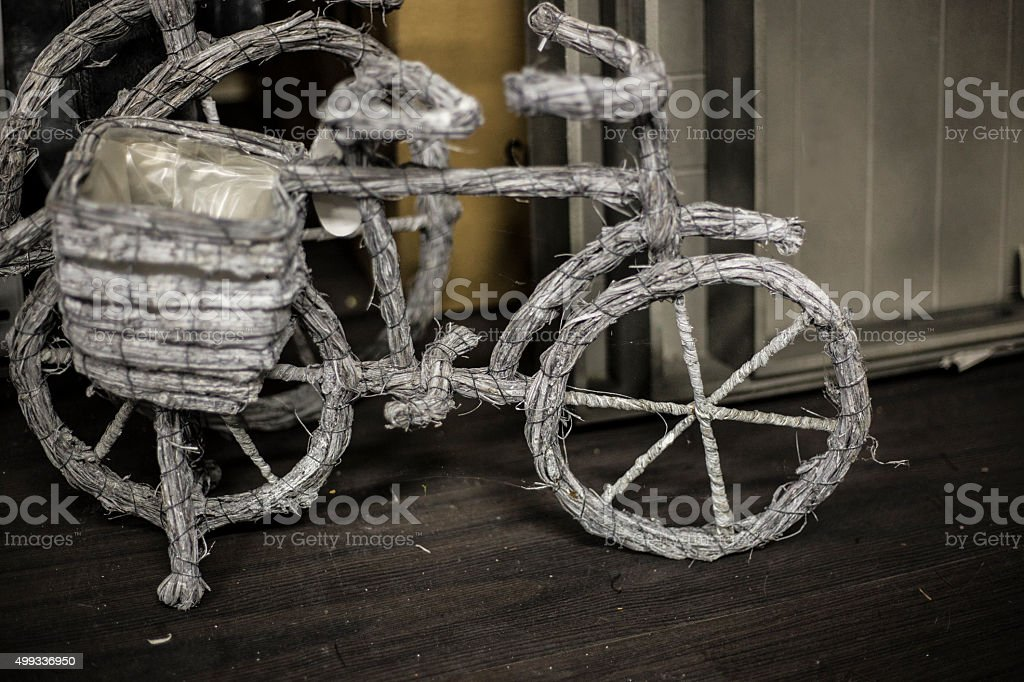 wooden bicycle stock photo