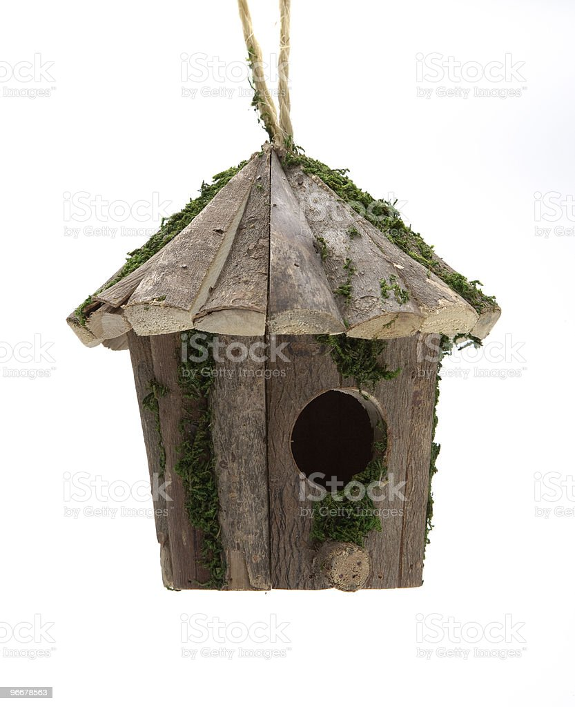Wooden bird feeder royalty-free stock photo