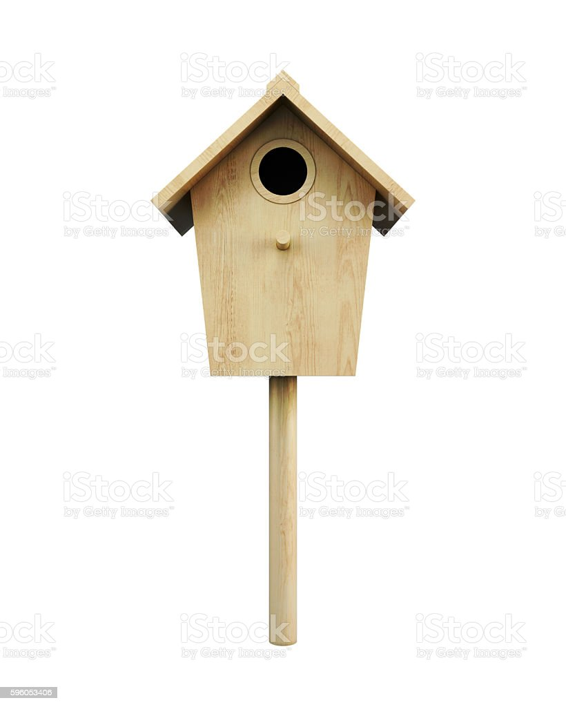 Wooden bird house on a pole isolated stock photo