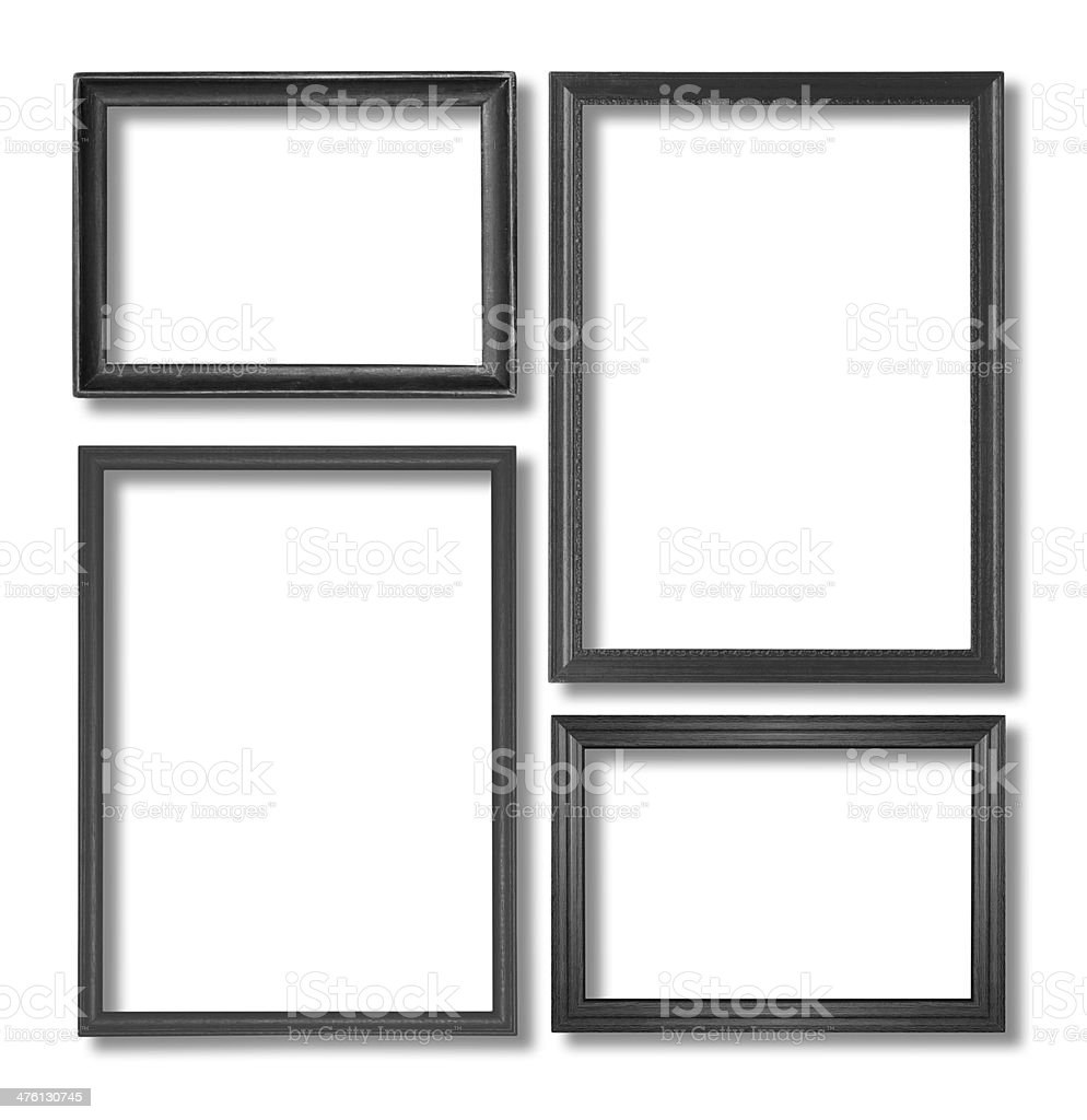 wooden black frame on the white background royalty-free stock photo