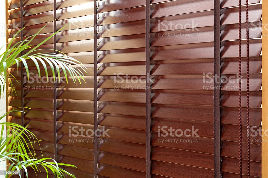 Wooden blinds stock photo