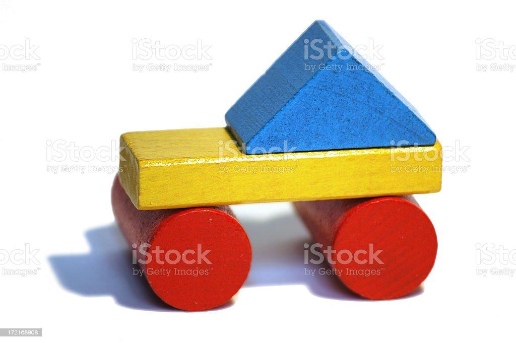 wooden block car stock photo