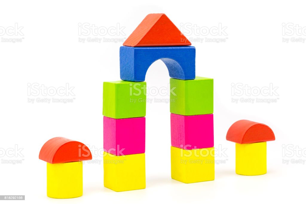 wooden block house stock photo