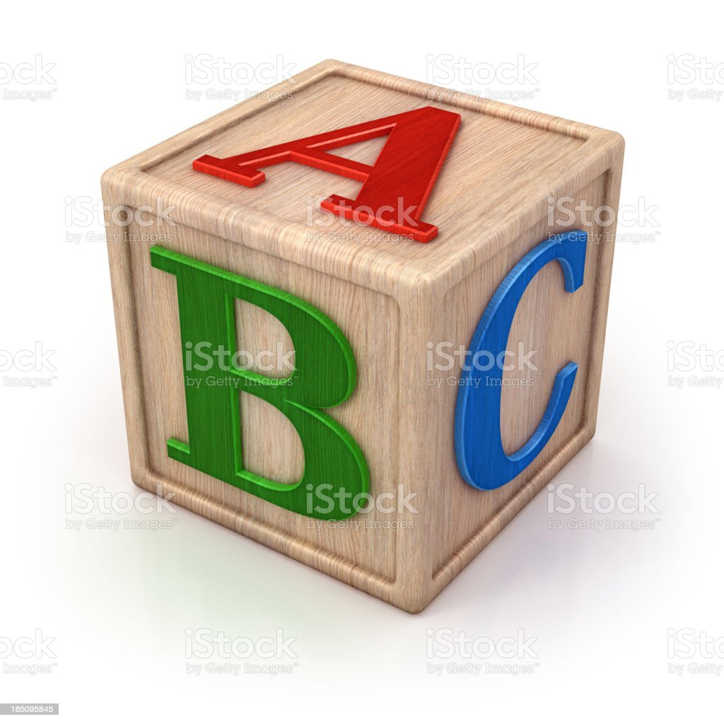 ABC wooden block isolated with clipping path stock photo