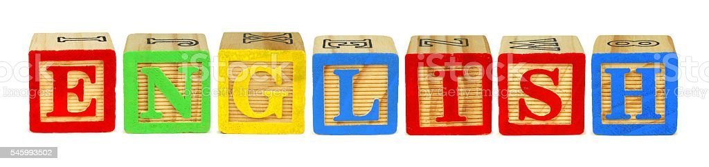 Wooden block letters spelling ENGLISH over white stock photo