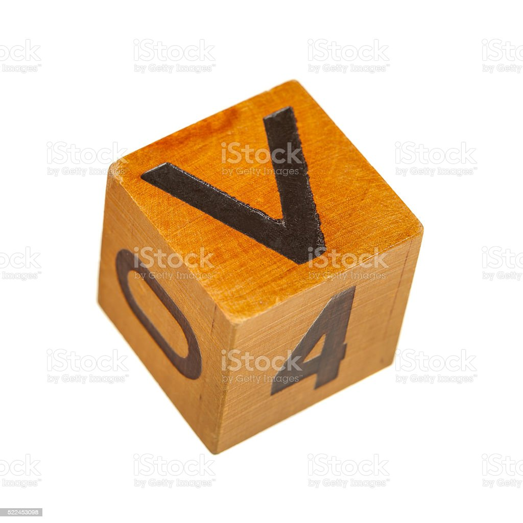 Wooden block with capital V letter stock photo