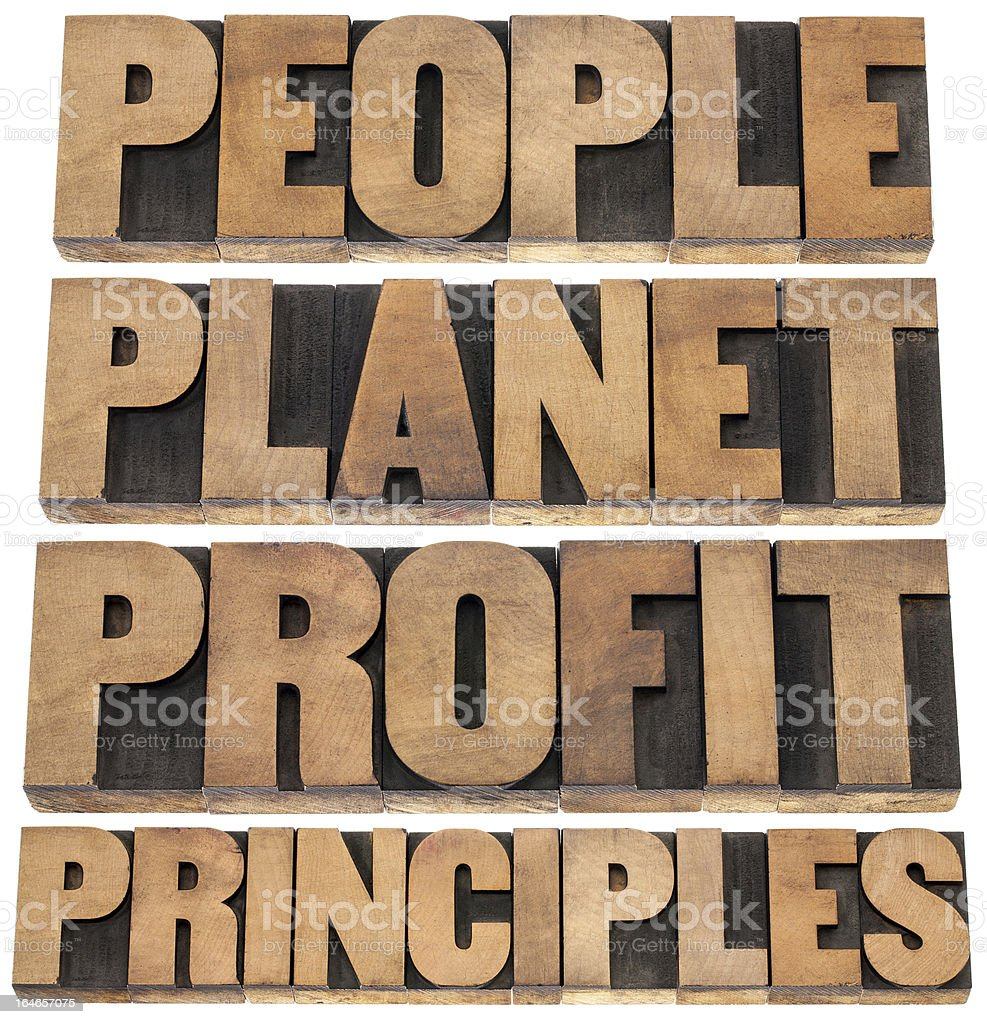 Wooden block words people, planet, profit and principles royalty-free stock photo