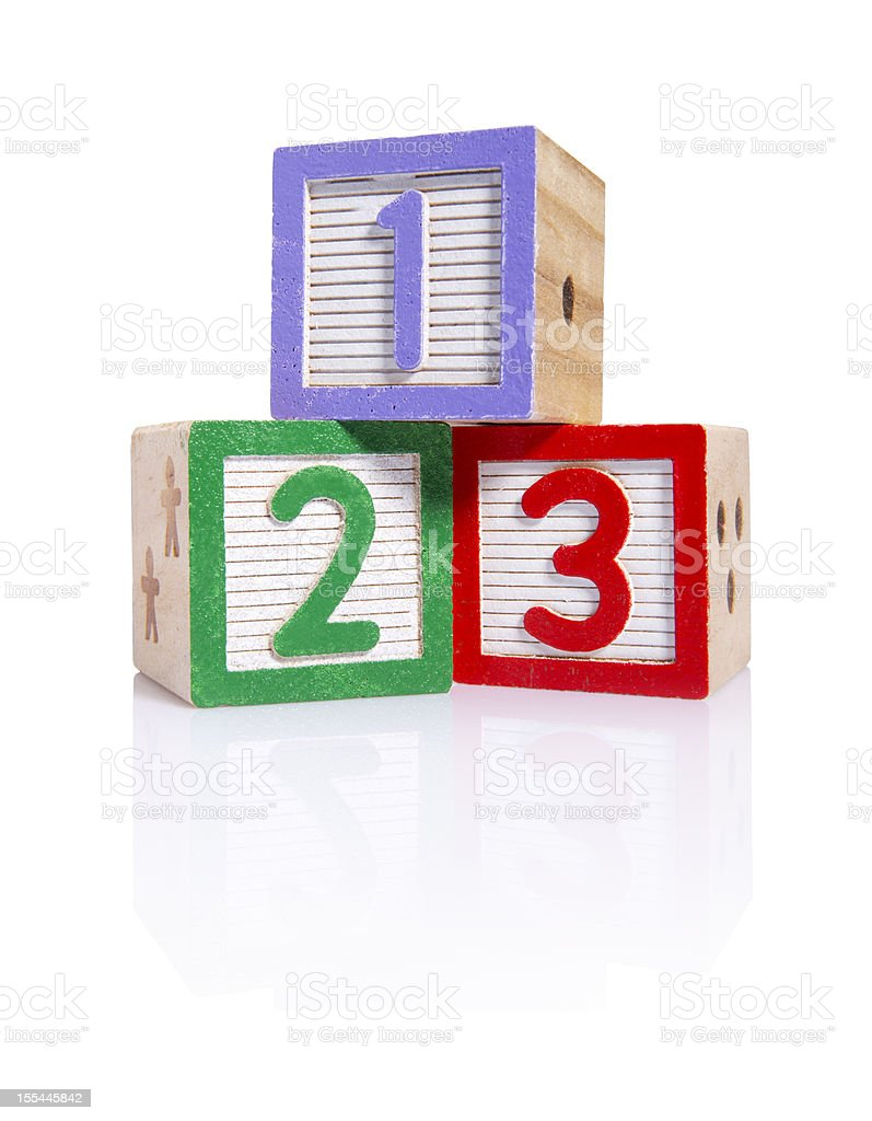 Wooden blocks cube (clipping paths) stock photo