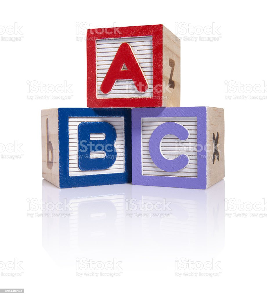 ABC wooden blocks cube (clipping paths) stock photo