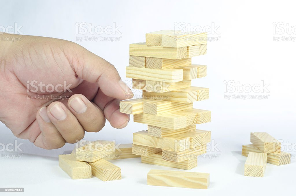 Wooden blocks tower isolated on white background royalty-free stock photo