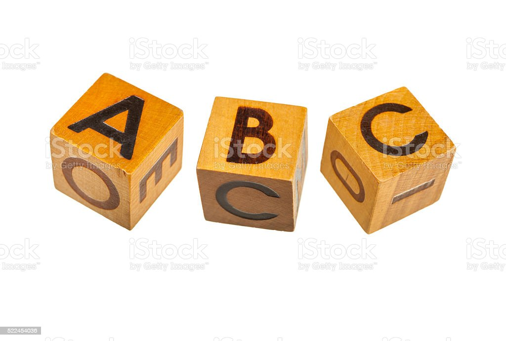 Wooden blocks with capital A, B, C letters stock photo