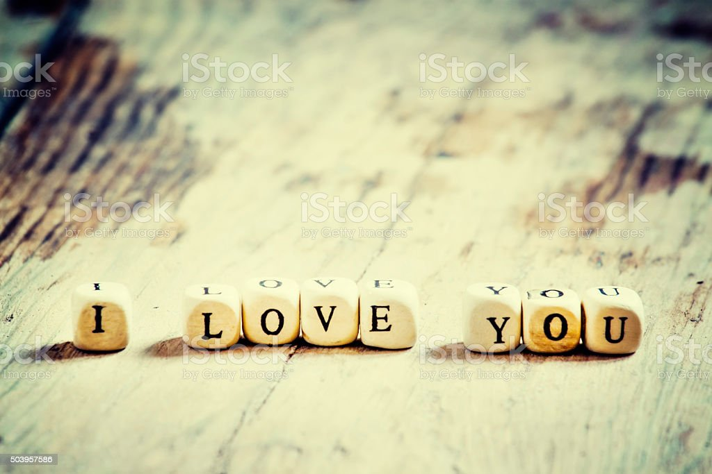 Wooden blocks with the words I love you stock photo