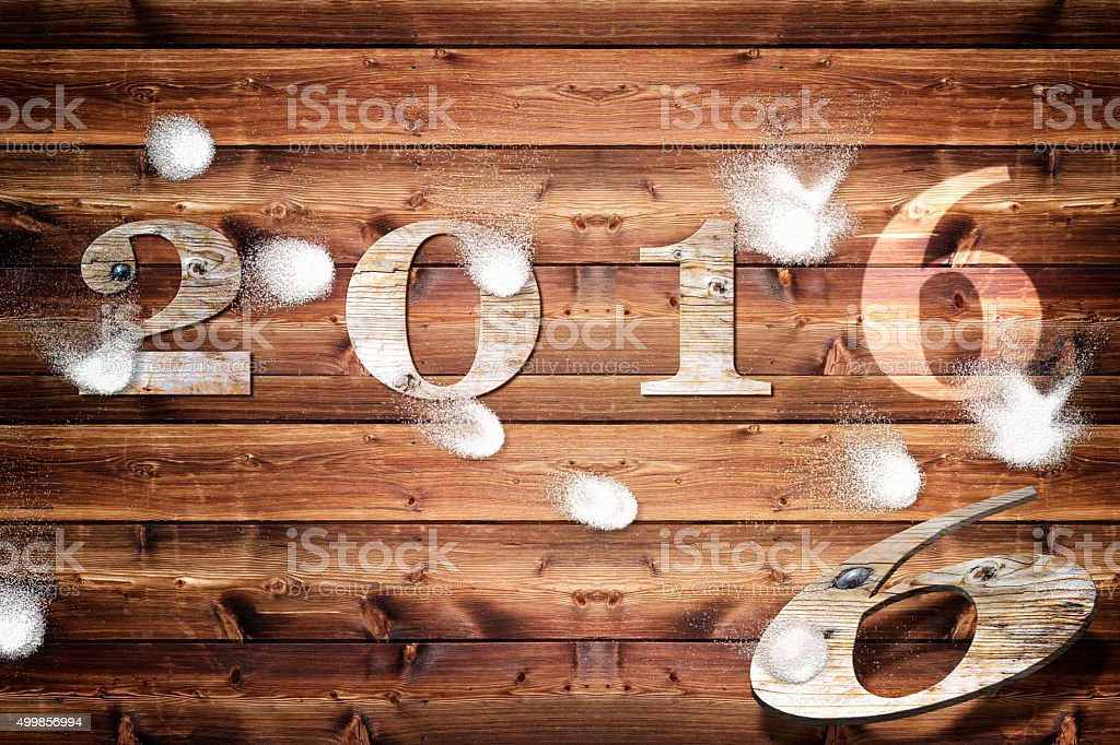Wooden board 2016  snowballs stock photo