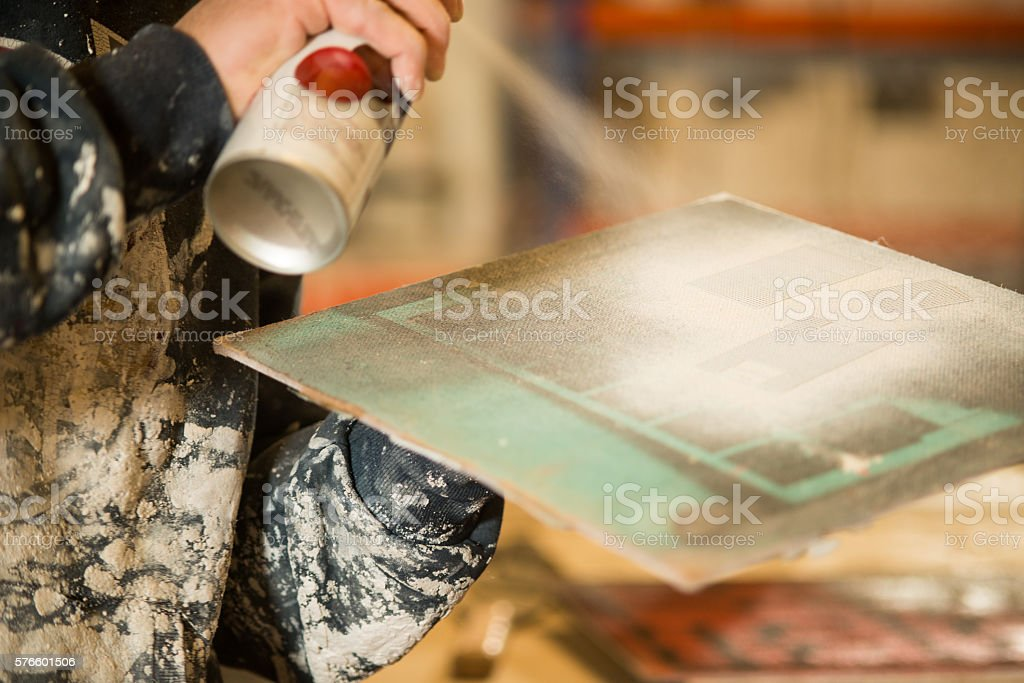 Wooden Board Spray-Painted White stock photo