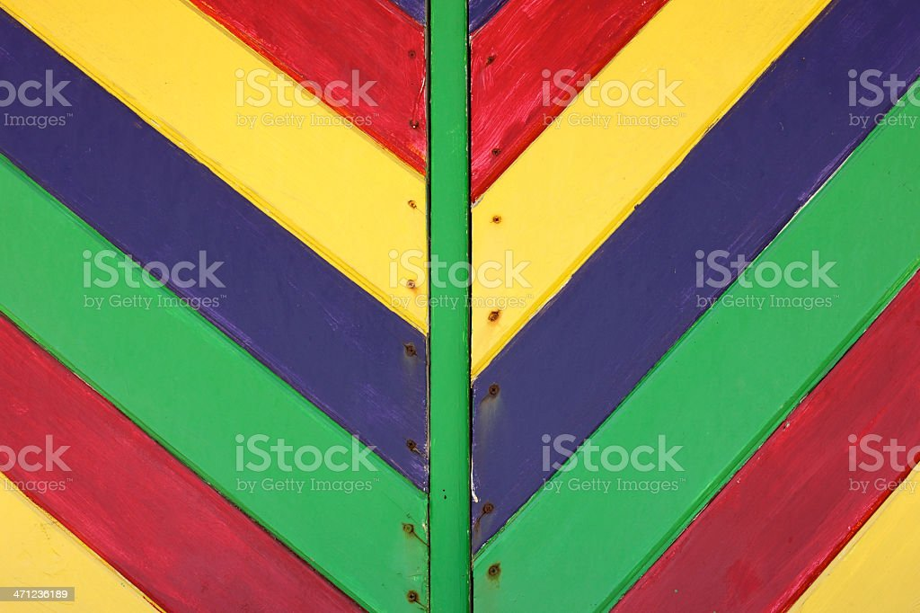 Wooden Boards Form a V Shape, Brightly Painted royalty-free stock photo
