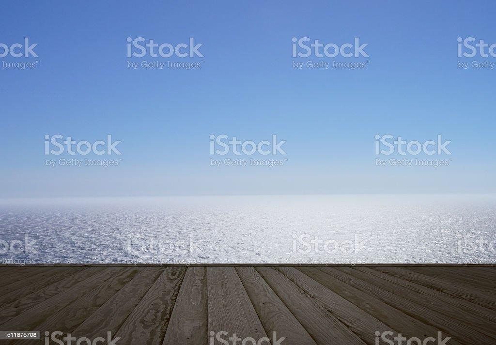 Wooden boards near the sea stock photo