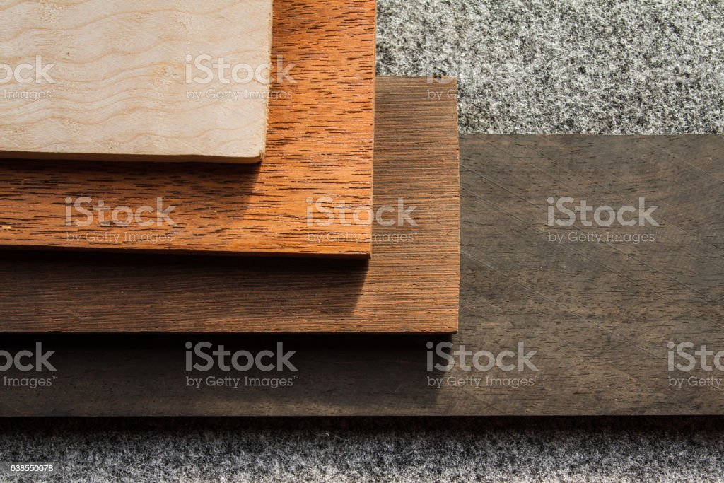 Wooden boards of different wood species stock photo