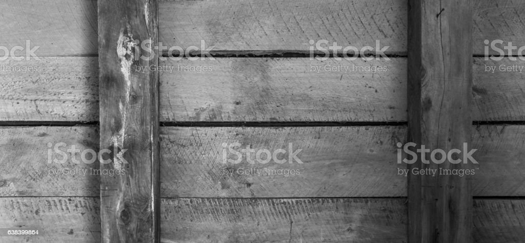 Wooden boards with beams and horizontal arrangement b/w stock photo