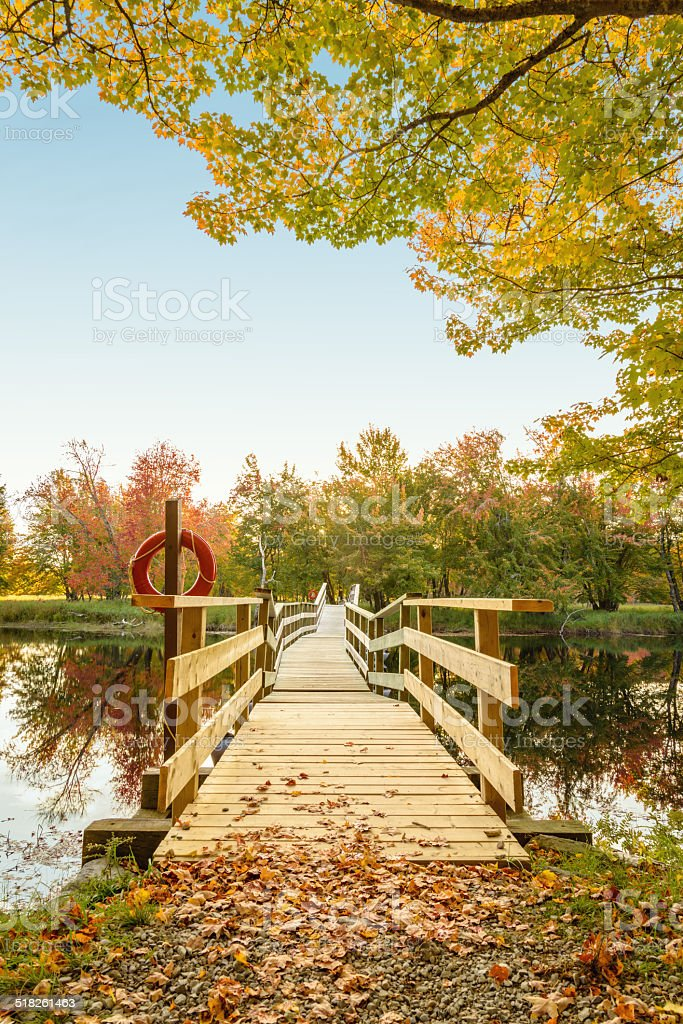Wooden boardwalk at Jakes landing stock photo