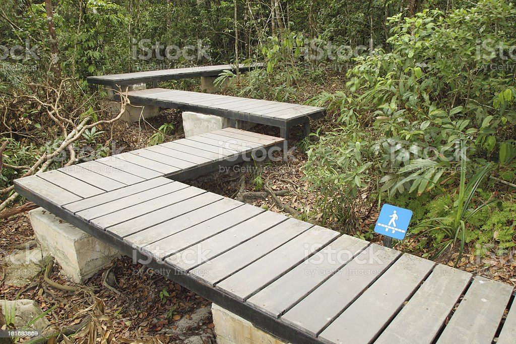 wooden boardwalk in forest with walkway sign royalty-free stock photo