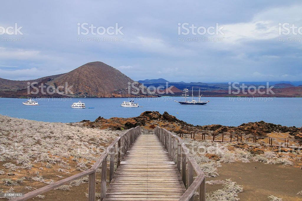 Wooden boardwalk on Bartolome island, Galapagos National Park, E stock photo
