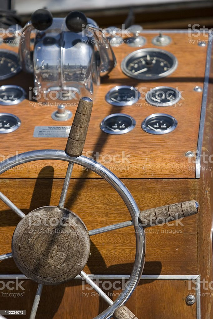 Wooden boat console royalty-free stock photo