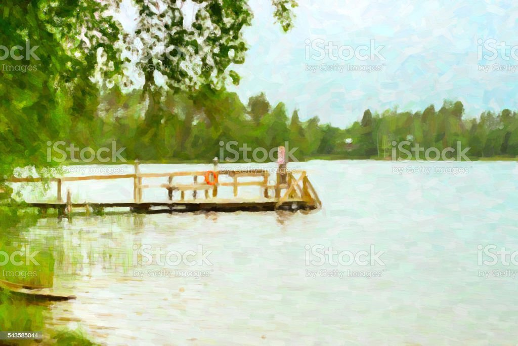 Wooden boat dock on lake. Campsite, Hamina, Finland, Suom stock photo