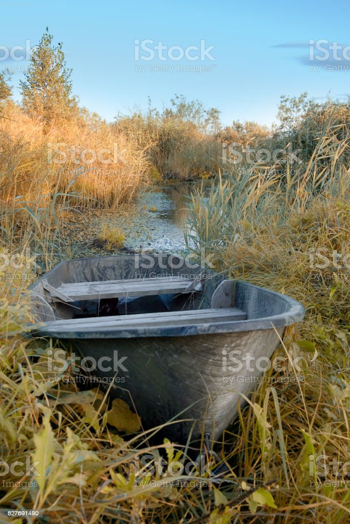 A wooden boat lies among the dry grass near the pond stock photo