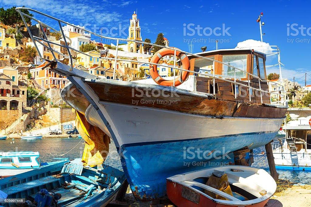 wooden boat on seashore, old ship on stocks, stock photo