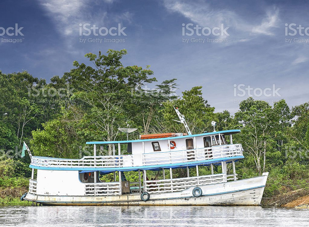 Wooden boat on the Amazon river, Brazil. royalty-free stock photo