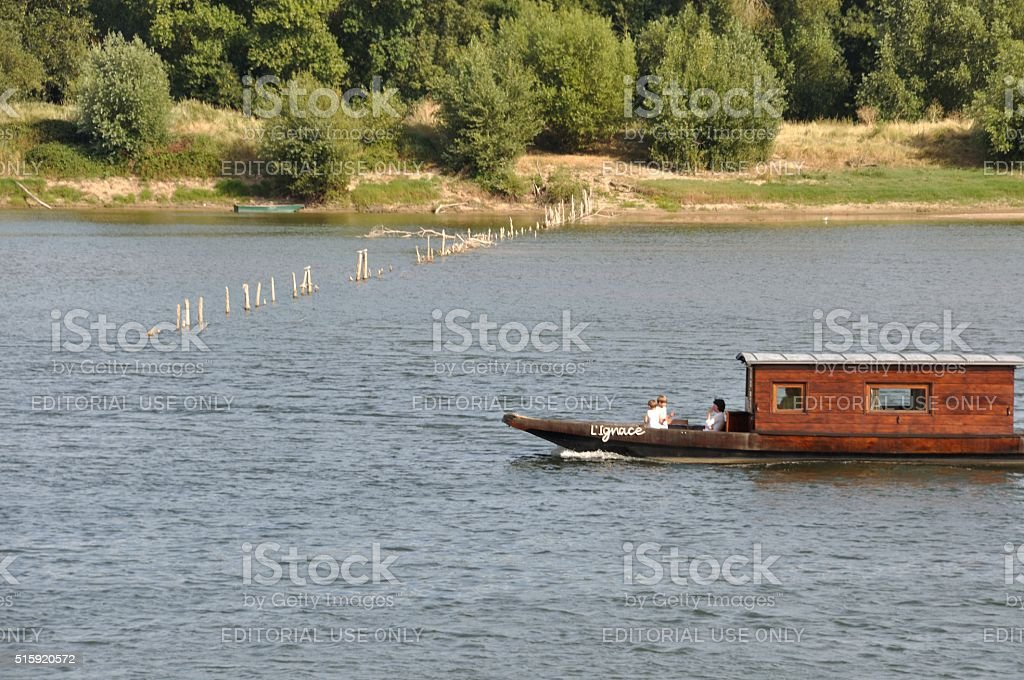 Wooden boat on the Loire stock photo
