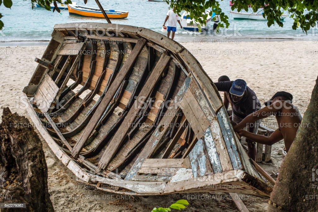 Wooden Boat Restoration & Repair stock photo