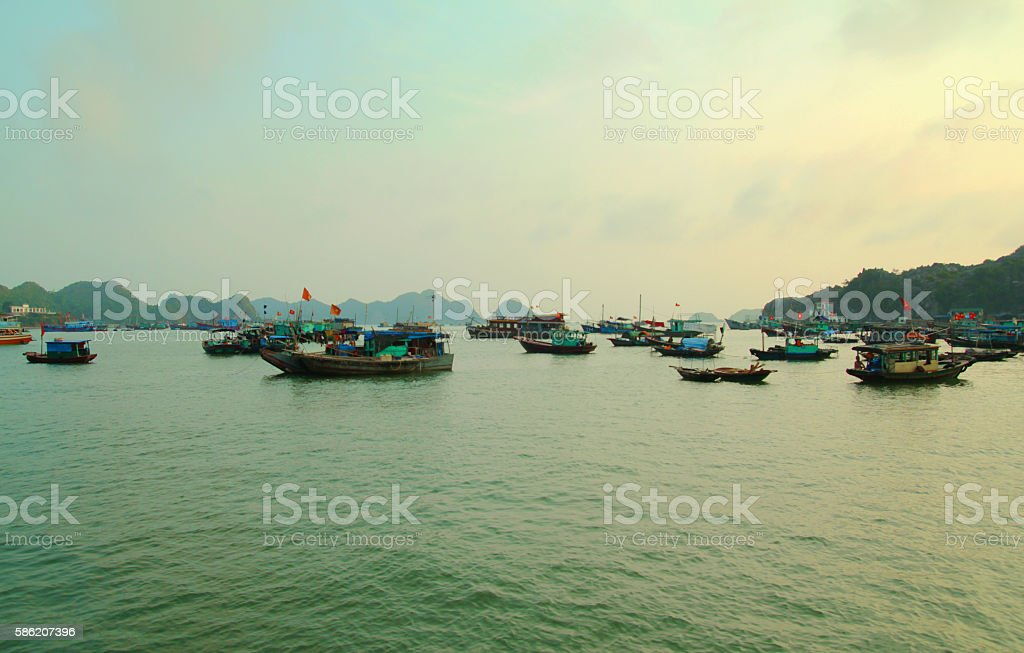 wooden boats in harbour stock photo