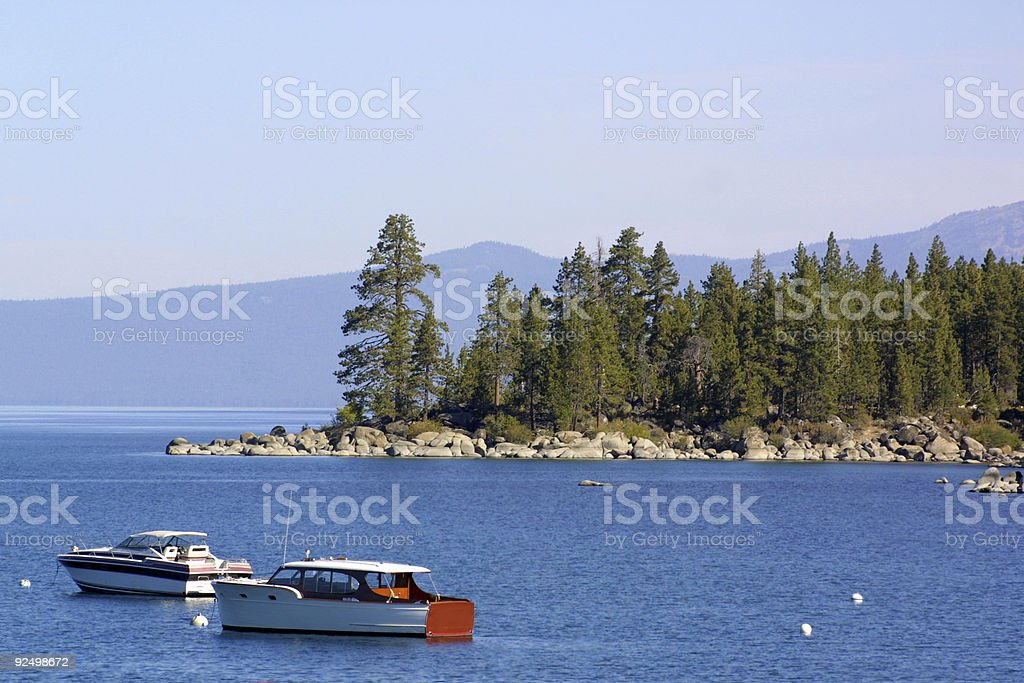 wooden boats on Lake Tahoe royalty-free stock photo