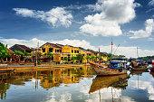 Wooden boats on the Thu Bon River, Hoi An, Vietnam