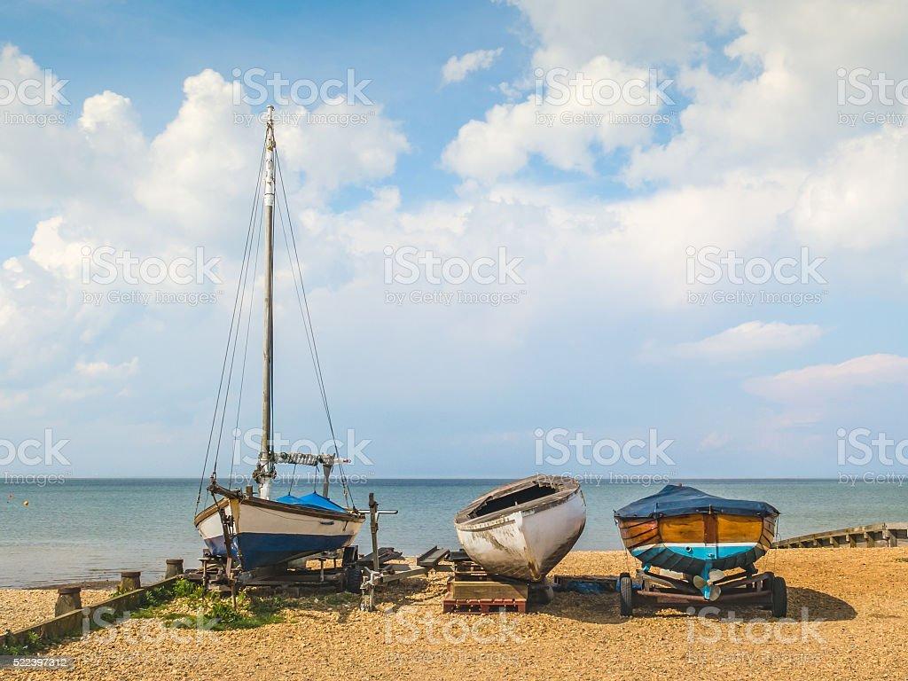 Wooden boats, Whitstable, Kent, UK stock photo