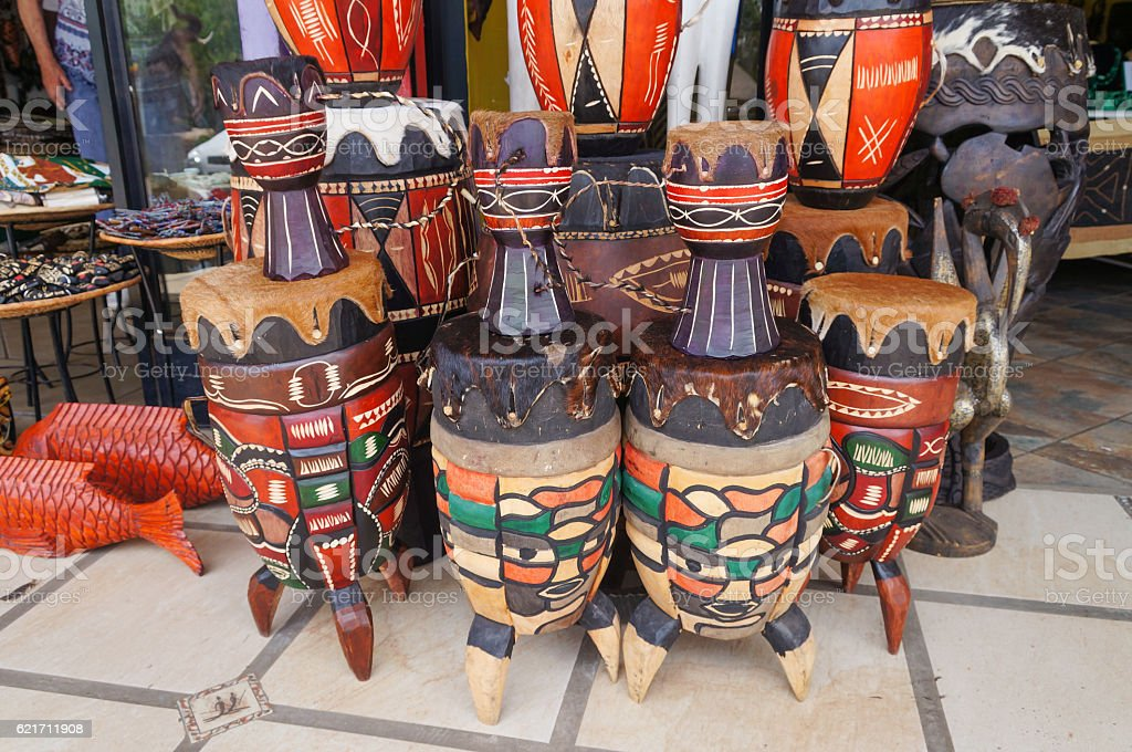 Wooden bongos in a traditional african shop stock photo